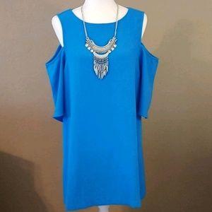 Umgee - Blue Cold Shoulder Shift Dress
